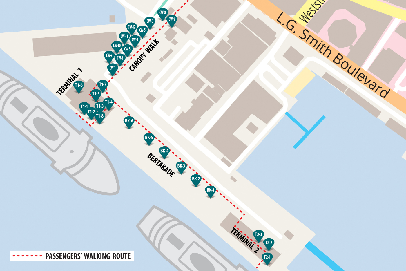 A map of the Cruise Terminal with all the advertisement locations