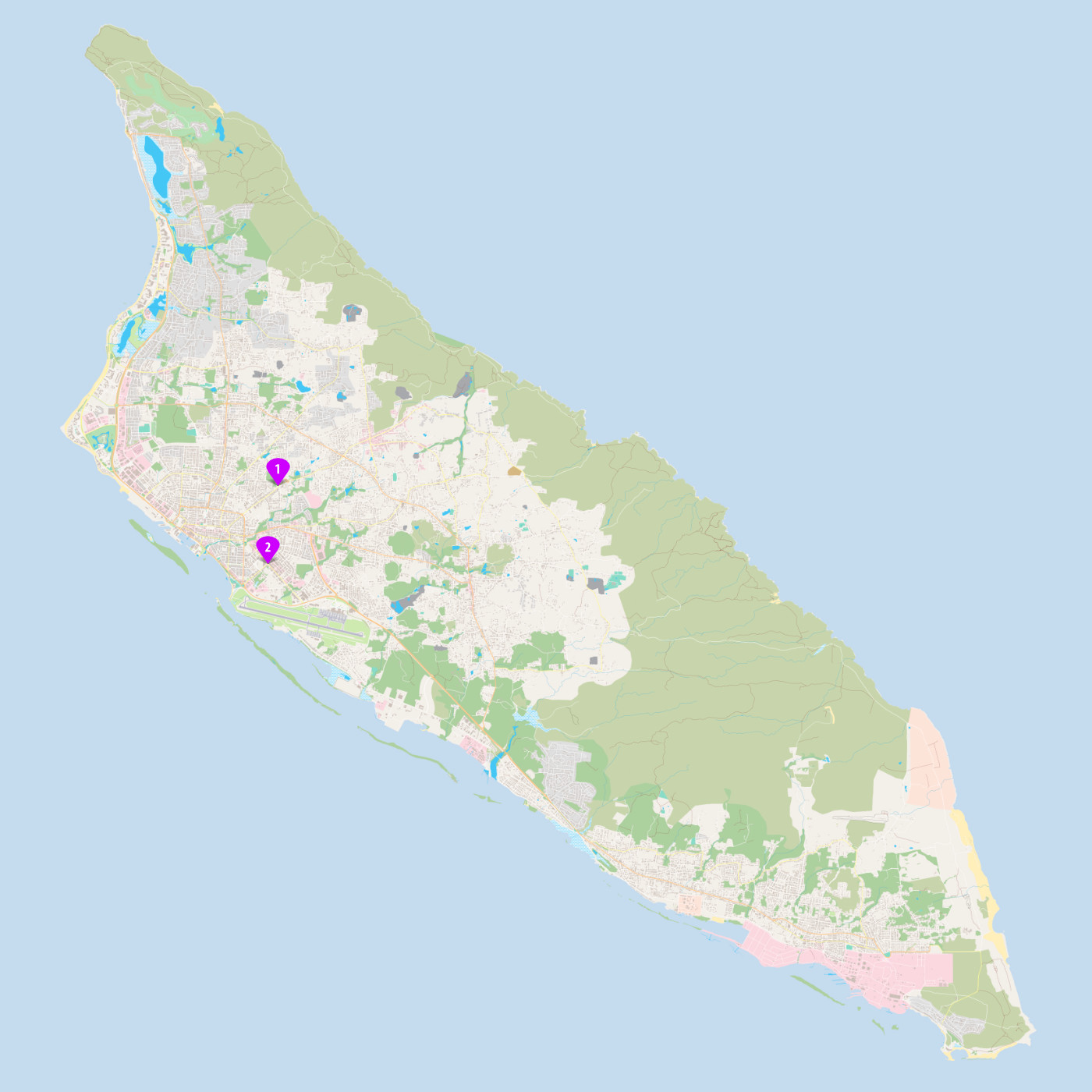 Map of Aruba with the location of two billboards